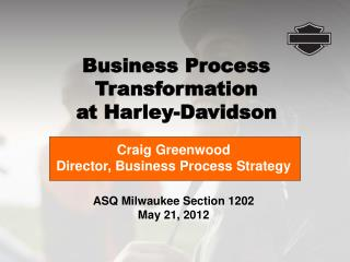 ASQ Milwaukee Section 1202 May 21, 2012