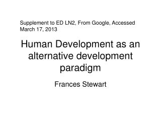 Human Development as an alternative development paradigm