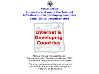 Internet & Developing Countries