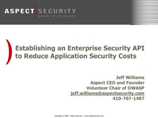 Establishing an Enterprise Security API to Reduce Application Security Costs