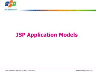 JSP Application Models
