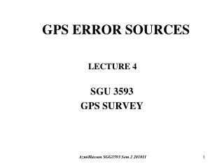 SGU 3593 GPS SURVEY