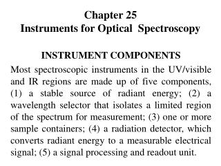 Chapter 25 Instruments for Optical  Spectroscopy