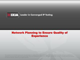Network Planning to Ensure Quality of Experience