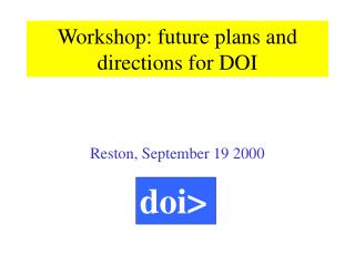 Workshop: future plans and directions for DOI