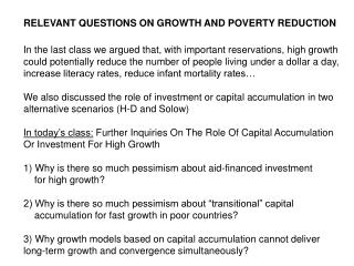 RELEVANT QUESTIONS ON GROWTH AND POVERTY REDUCTION