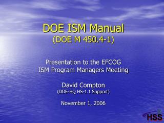 DOE ISM Manual (DOE M 450.4-1)