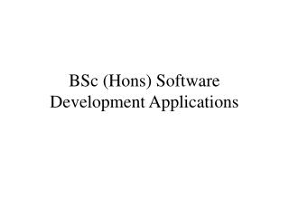 BSc (Hons) Software Development Applications