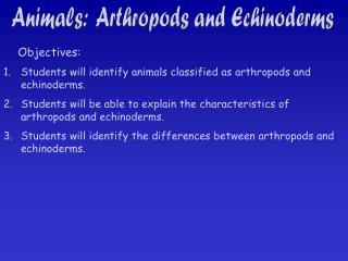 Animals:  Arthropods and Echinoderms