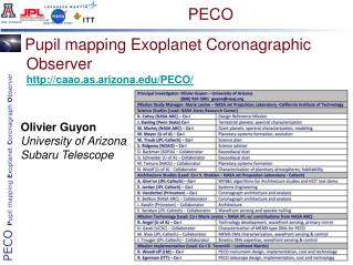 Pupil mapping Exoplanet Coronagraphic Observer caao.as.arizona/PECO/