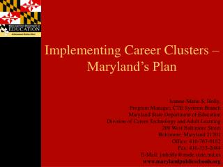 Implementing Career Clusters   Maryland s Plan