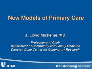 New Models of Primary Care