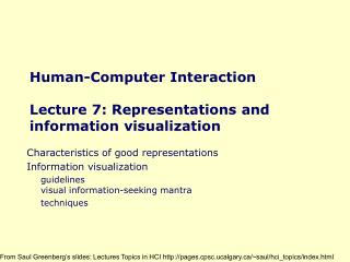 Human-Computer Interaction  Lecture 7: Representations and information visualization