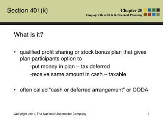 What is it? qualified profit sharing or stock bonus plan that gives plan participants option to