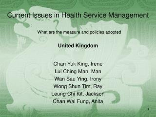 Current Issues in Health Service Management