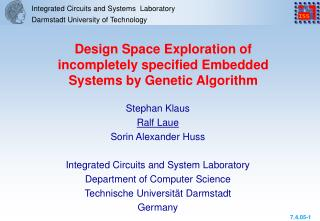 Integrated Circuits and Systems  Laboratory Darmstadt University of Technology