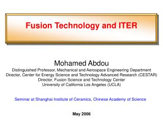 Fusion Technology and ITER