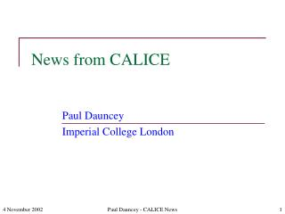 News from CALICE