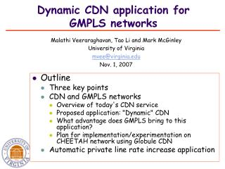 Dynamic CDN application for GMPLS networks