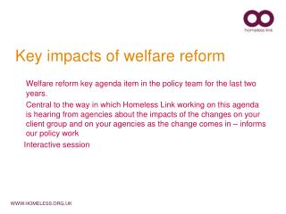 Key impacts of welfare reform