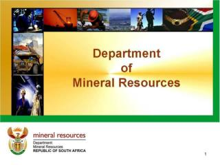 PRESENTATION TO PORTFOLIO COMMITTEE ON MINING OF 2009 / 10 ANNUAL REPORT  			12 OCTOBER 2010