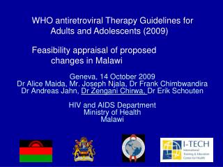 WHO antiretroviral Therapy Guidelines for