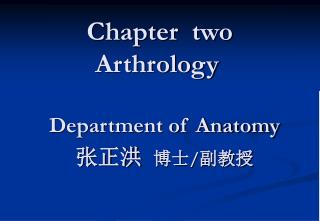 Chapter  two   Arthrology