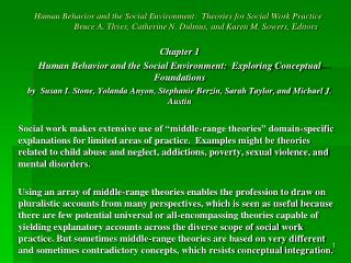 Chapter 1 Human Behavior and the Social Environment:  Exploring Conceptual Foundations