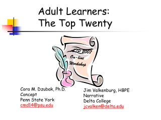 Adult Learners: The Top Twenty