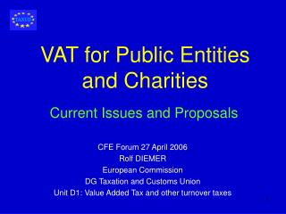 VAT for Public Entities and Charities