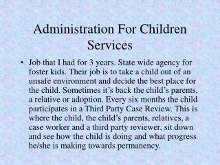 Administration For Children Services