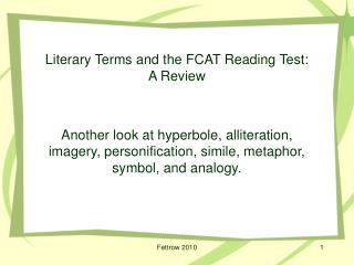 Literary Terms and the FCAT Reading Test:  A Review