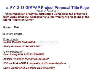 a.  FY12-13 GIMPAP Project Proposal Title Page version 04 August 2011