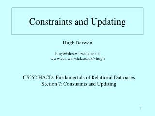 Constraints and Updating