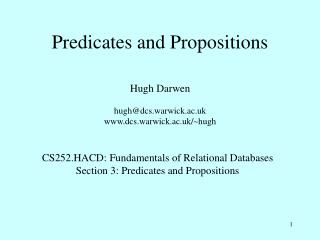 Predicates and Propositions