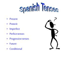 Present Preterit Imperfect Perfect tenses Progressive tenses Future Conditional