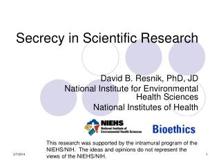 Secrecy in Scientific Research