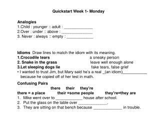 Quickstart Week 1- Monday