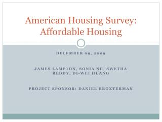 American Housing Survey: Affordable Housing