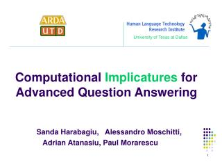 Computational  Implicatures  for Advanced Question Answering