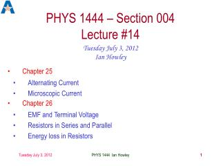 PHYS 1444 – Section 004 Lecture #14