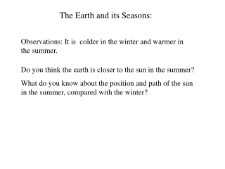 The Earth and its Seasons: