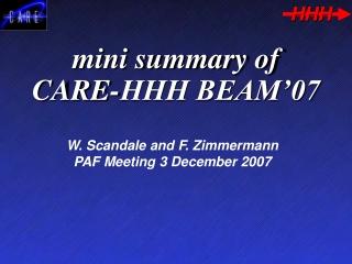 mini summary of CARE-HHH BEAM'07