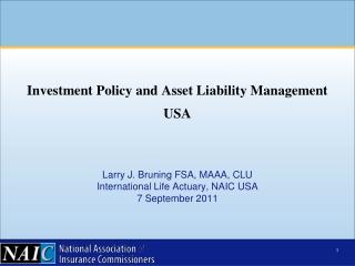 Larry J. Bruning FSA, MAAA, CLU International Life Actuary, NAIC USA 7 September 2011