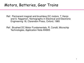 Motors, Batteries, Gear Trains