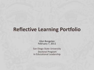 4 reflections portfolio These reflections will be important later when in the portfolio level 4 + comprehensive discussion of the five program learning outcomes a level of self.