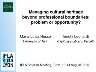 Managing cultural heritage beyond professional boundaries:  problem or opportunity?