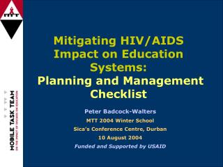 Mitigating HIV/AIDS Impact on Education Systems: Planning and Management Checklist