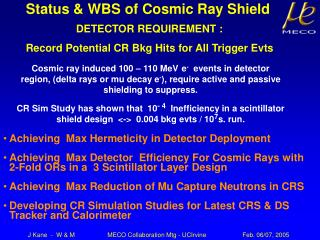 Status & WBS of Cosmic Ray Shield