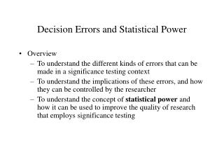 Decision Errors and Statistical Power